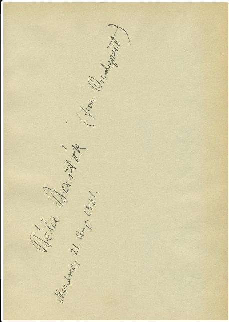 Bela Bartok Signatur Mondsee 1931